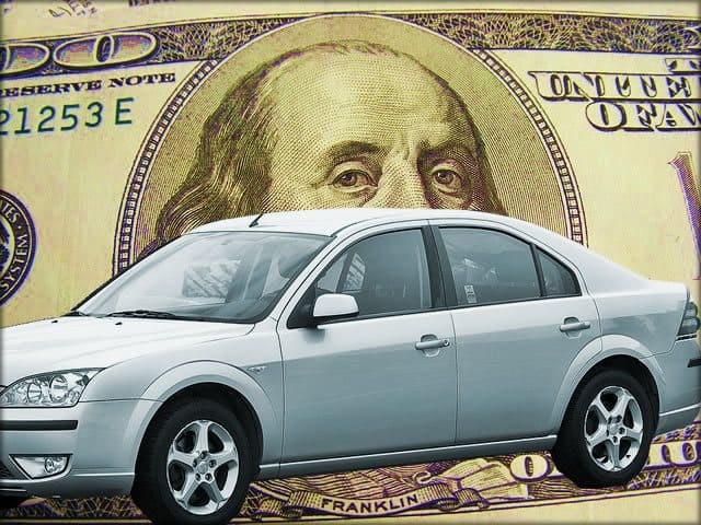 Cash For Cars - Car with Money in the background