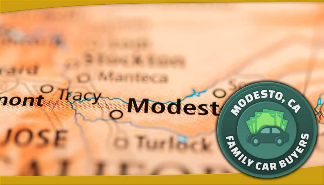 Modesto map and green Family Car Buyers emblem