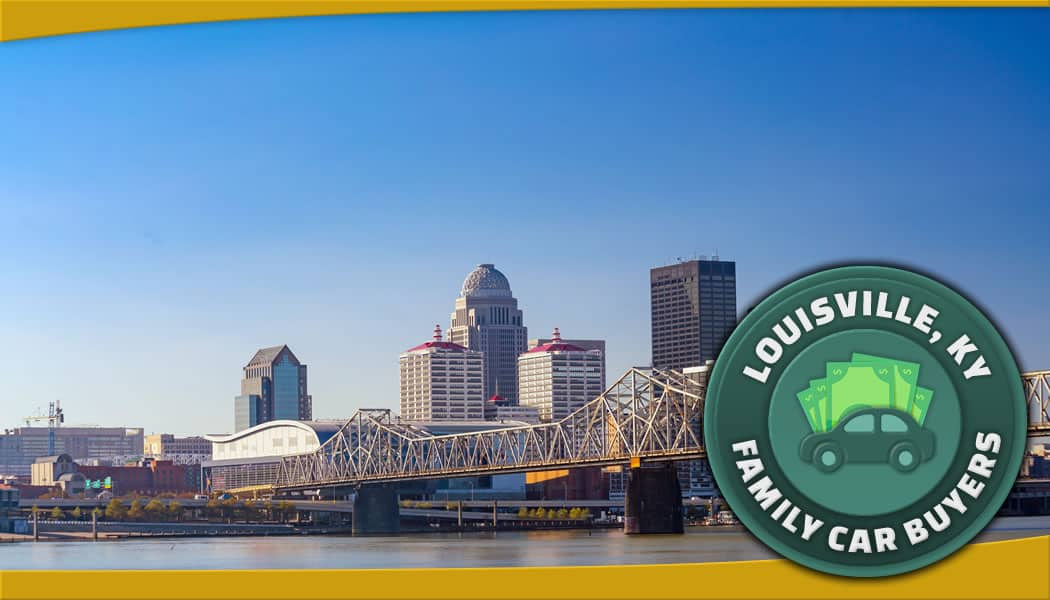 Louisville, Kentucky downtown from across the river and green FCB emblem
