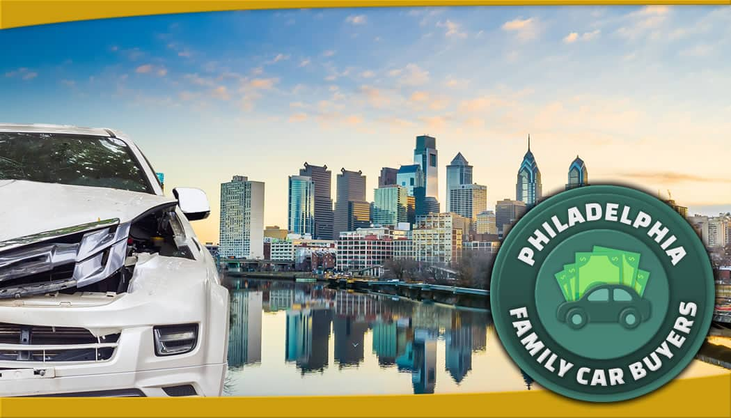 Damaged car in front of Philly skyline and our official junk car removal service area emblem
