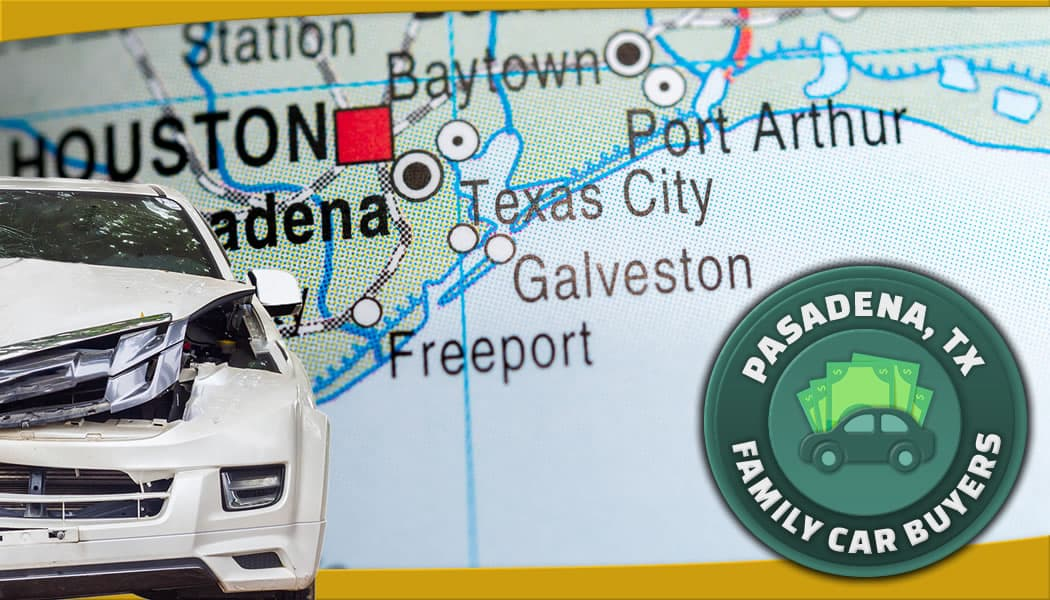 Busted clunker in front of Texas Gulf Coast map south of Houston along with our official FCB emblem