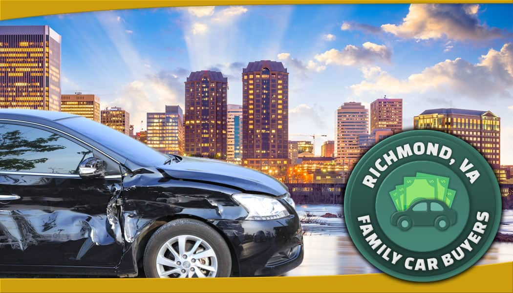 Profile view of black car on left in front of Richmond skyline with our official service area emblem