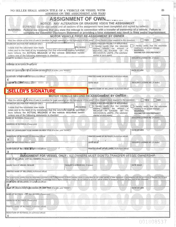 Ct Dmv Bill Of Sale >> Sell My Car Connecticut Title Transfer